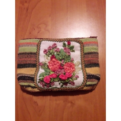 Cosmetic bag, embroidery
